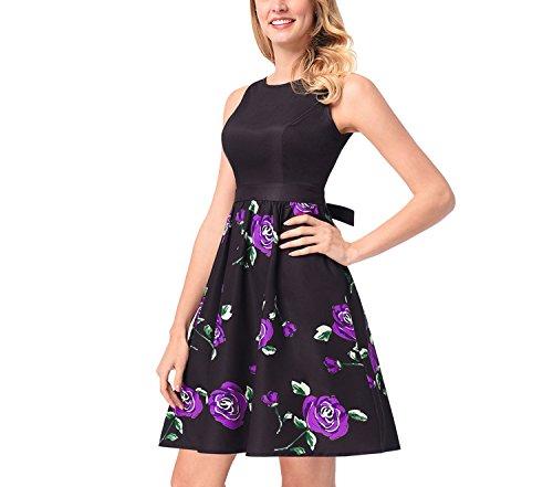 2018women's Retro Hepburn Style Single-Breasted Belt Belt Print Dress,O560 Purple,2XL