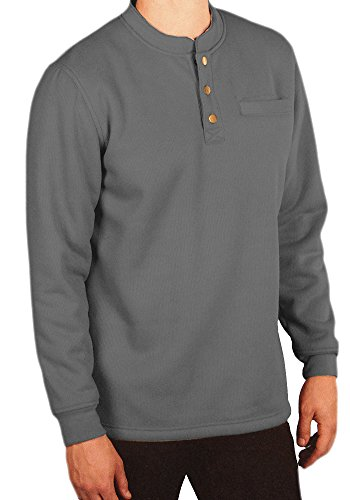 Woodland Supply Co. Men's Sherpa Lined Warm Winter Thermal Henley (XX-Large, Charcoal) ()