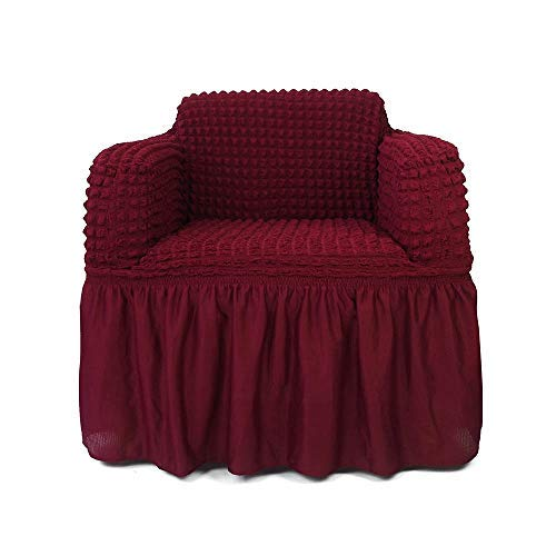 NICEEC 1-Piece Stretchable Easy Fit Sofa Cover Durable Furniture Slipcover in Country Style Made of Machine Washable and Quick-Drying Fabric for 1-seat Armchair(Chair,Wine Red) ()