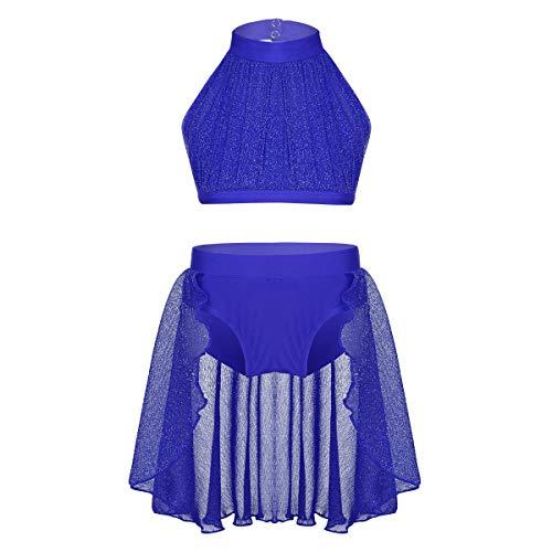 iEFiEL Kids Girls Gymnastics Leotard Modern Contemporary Celebration of Spirit Praise Dance Outfit Crop Top with Bottoms Blue -