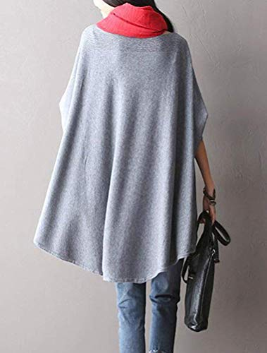 grey Da Style Lunghe Maglia Pipistrello Maniche Taglie colore 2 A grey 1 Pipa Forti Donna Con Qiusa wfpgB