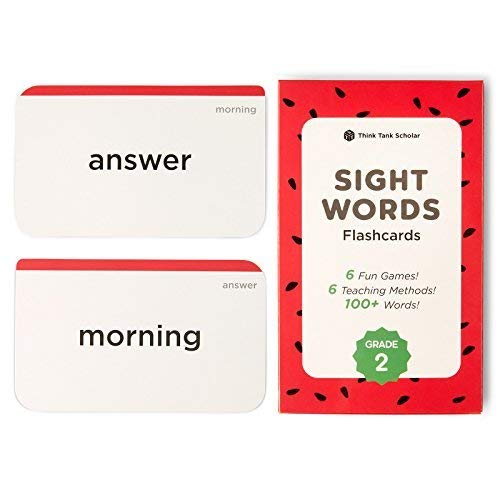 Think Tank Scholar 100+ Second (2nd) Grade Sight Words Flash Cards for Readers Ages 7 to 8 Years Old - Flash Cards Sight