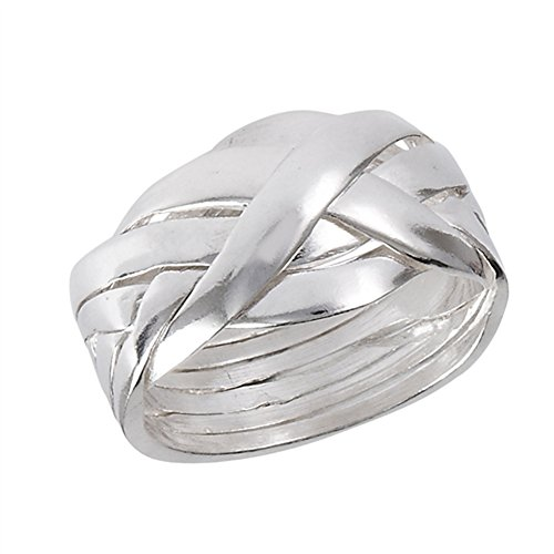 Sterling Silver Puzzle Ring - Six Piece Hard Puzzle Knot Weave Mesh Ring .925 Sterling Silver Band Size 8