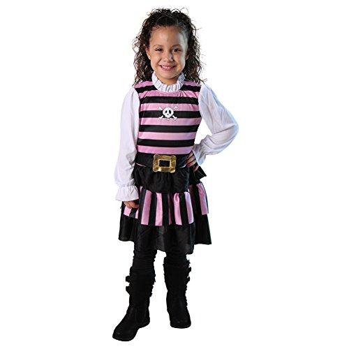 Girls Pink & Black Stripes Pirate Mate Costume Dress, Size 4/6 -