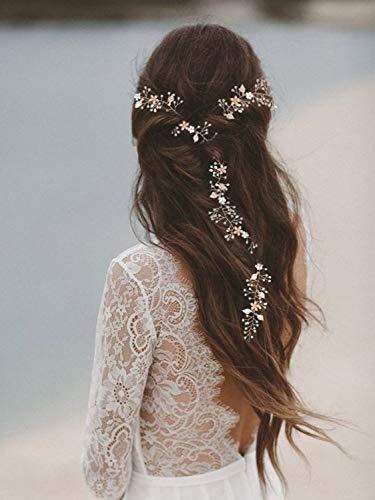 SWEETV Rose Gold Hair Vine - Braided Wedding Headband Bohemian Headpiece - 28.5 inch/72 cm Extra Long Crystal Pearl Bridal Hair Accessories for Brides Bridesmaids