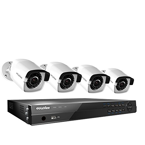LaView HD 8 Channel (2688 x 1520) Business & Home NVR SecuritySystem W/ 4 Indoor/Outdoor 4MP Bullet IP POE Surveillance Cameras 100ft Night Vision 4TB HDD (Digital Dvr Video Recorder Mpeg4)