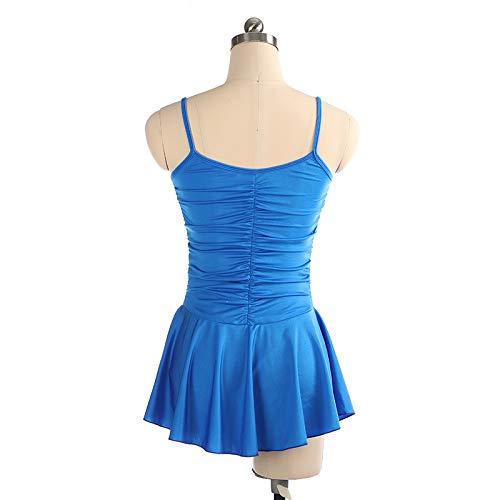 Vestito Blu Collo Con Sul Al amp;m Senza Cristalli Heart Donne Di Costume Concorso Per Body E Pattinaggio Da Ghiaccio Bambine Maniche Figura 6w5nxTq4