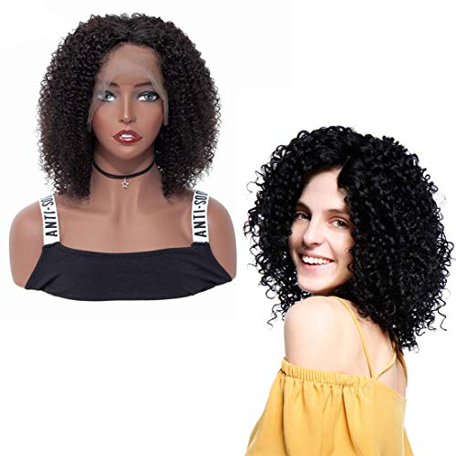 Short Bob Wig Brazilian Human Hair Bob Lace Front Wigs Jerry Curly Bob Wig Wet And Wavy With Baby Hair Middle Part Bleached Knots Natural Hairline 150% Density Unprocessed Virgin Human Hair 1b(8inch)
