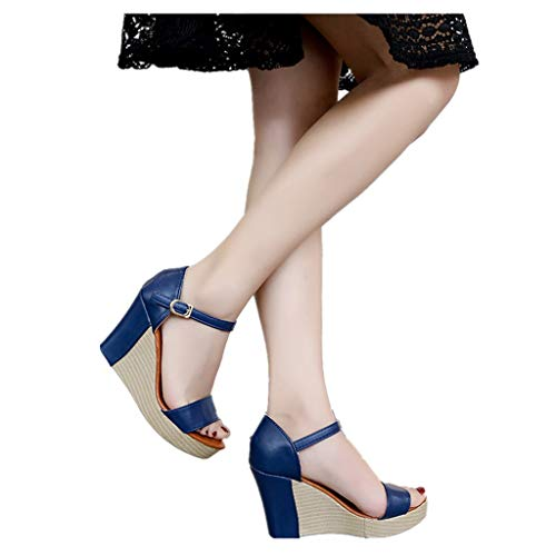 Cenglings Women Casual Peep Toe Wedge Sandals Buckle Strap High Heel Platform Ankle Strap Shoes Waterproof Sandals Blue