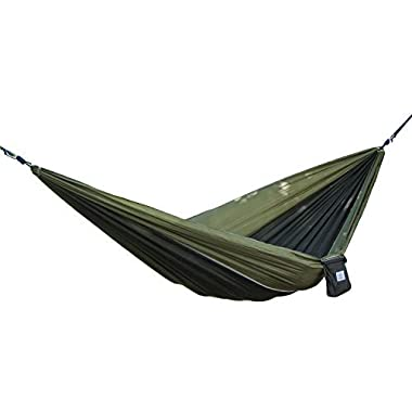 OuterEQ Portable Nylon Fabric Travel Camping Hammock For Double Two Person Olive/Black