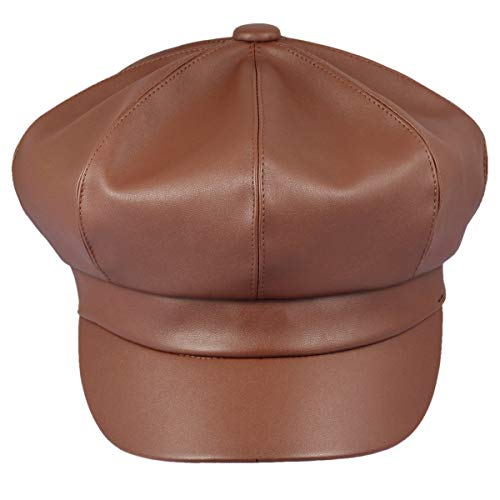 Hats Leather Ladies (Samtree Women Newsboy Hats, Visor Beret Cabbie Hat 8 Panel Ivy Cap PU Leather (Brown))