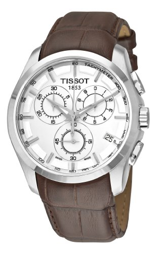 Tissot Men's T0356171603100 Couturier Silver Stainless Steel Chronograph Watch With Brown Leather Band (Gents Chronograph Watch Tachymeter)