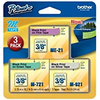 3/Pack 3/8 (9mm) P-touch M Tape Value Pack for Brother PT-100, PT100 Label Maker