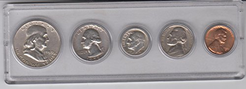 - 1959 Birth Year Coin Set (5) Coins - Silver Half, Silver Quarter, Silver Dime, Nickel, and Cent all Dated 1959 and Encased in a Plastic Display Case Fine