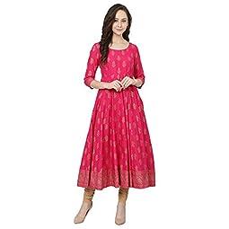 Poshak Women's Cotton & Crepe Anarkali Kurta
