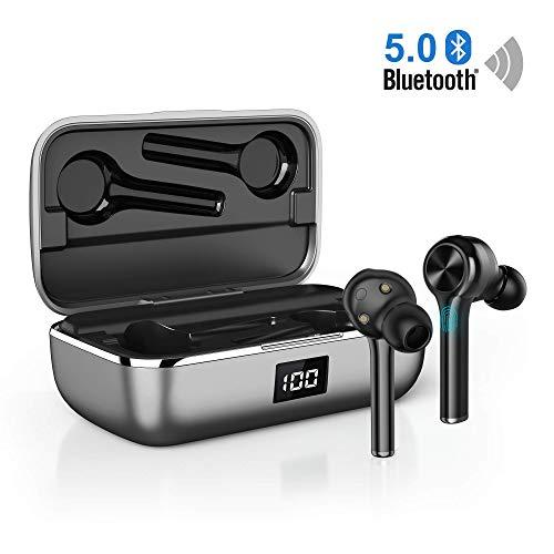 Orit Bluetooth5.0 Kopfhörer Sport Kabellose CVC8.0 Nosie Cancelling In Ear Crystal Call Sound Bluetooth Headsets Volume Control/IPX6 40 Std.Spielzeit/Dual-Mikrofone Leichte Kopfhörer