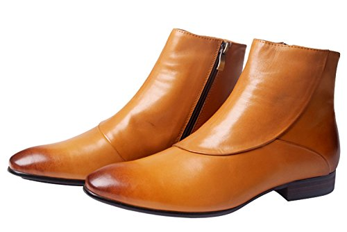 Santimon Men Boots Leather Classic Casual Dress Oxford Lined Ankle Boots by Gold Tan Bronze Black 11 D(M) US Bronze Ankle Boot
