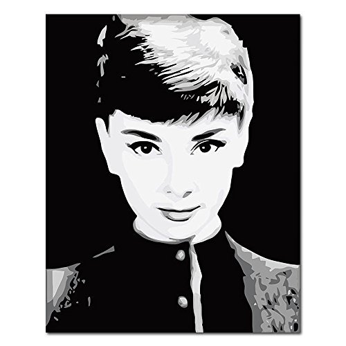 (Mesno DIY Oil Painting ,Paint by Number Kit for Adults Kids-Black and White Audrey Hepburn 16x20 inch [Framed Canvas])
