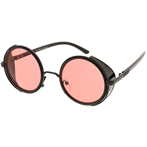 zeroUV - Studio Cover Color Mirror Lens Side Shield Metal Round Sunglasses (Black - Side Shield Sunglasses Ce
