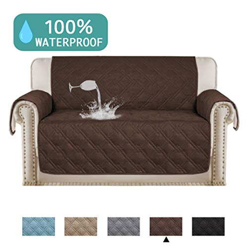 (Turquoize 100% Waterproof Sofa Protector for Leather Couch Cover Slip Resistant Quilted Pet Furniture Covers Brown Protector Cover Non Slip Great for Dogs, Kids, Pets (Oversize Loveseat 75