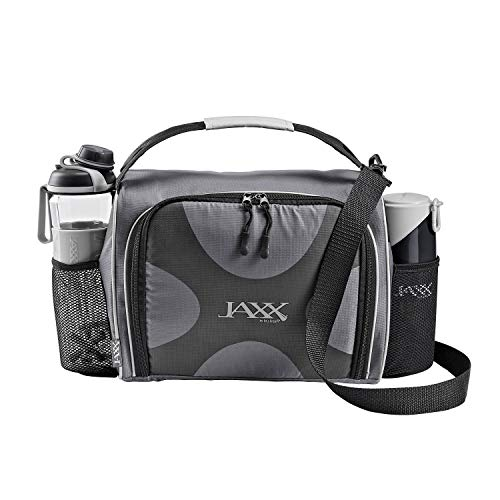 JAXX FitPak Deluxe Meal Prep Bag with Portion Control Container Set & Shaker (Various Colors) ()