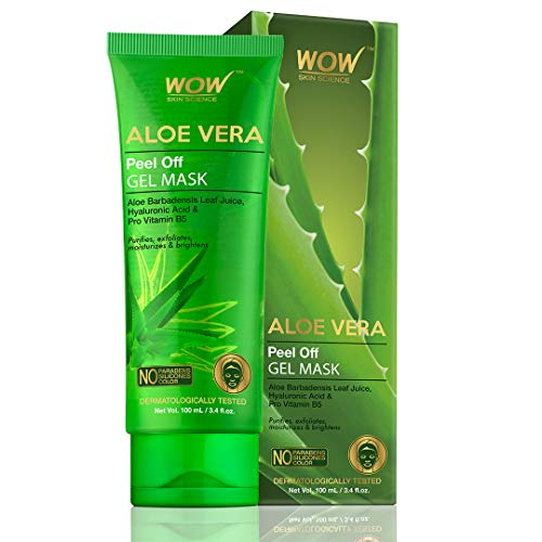 WOW Skin Science Aloe Vera with Hyaluronic Acid & Pro Vitamin B5 Peel Off Gel Mask – No Parabens, Silicones & Color…