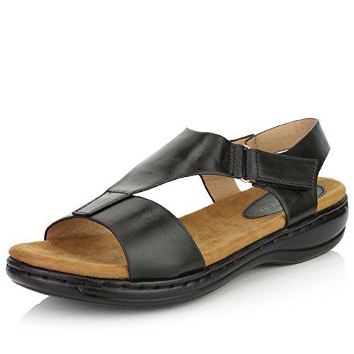 (DailyShoes Women's Casual Cushioned Adjustable Strap Flat Platform Open Toe Sandals, Black PU, 7 B(M) US)