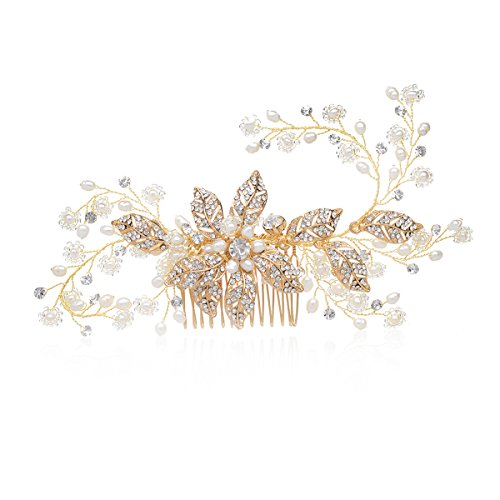 SWEETV Freshwater Pearl Comb Rhinestone Hair Comb Clip - Handmade Gold Head Pieces for Women