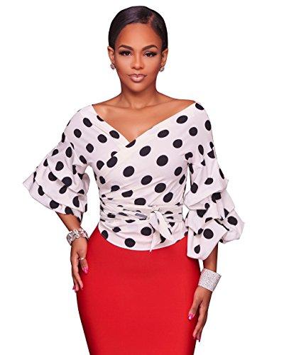 LHS Charmer Lantern Sleeve Polka Dots Blouses Fall 2017 Fashion Deep-V Neck Sexy White Women Tops Shirts (L, White) - Lantern Sleeve V-neck Top
