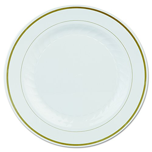 (WNA MP10IPREM Masterpiece Plastic Plates, 10 1/4in, Ivory w/Gold Accents, Round (Case of 120))