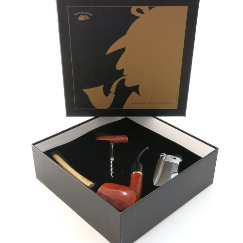 Tobacco Pipe Gift Set - Mr. Brog Gold Collection - Briar Pipe, Stand, Tamper, Lighter w Tool, Wine Opener - Hand Made by Mr. Brog (Image #5)