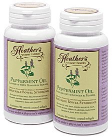 (Heather's Tummy Tamers - Peppermint Oil Capsules with Ginger and Fennel for Irritable Bowel Syndrome ~ 90 softgels (Pack of 2))