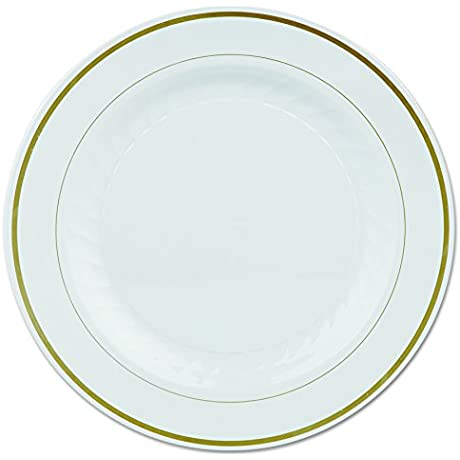 Masterpiece MP10IPREM 10 25 Ivory With Gold Printed Polystyrene Round Plate Case Of 120