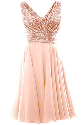 MACloth Women V Neck Sequin Chiffon Short Bridesmaid Dress Formal Evening Gown (16w, Rose Gold)