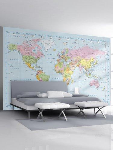 1Wall Stunning Digital Colour World Map Wallpaper Wall Mural