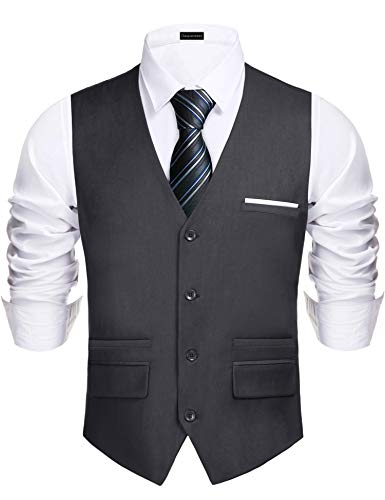 Daupanzees Men's Vest Modern Fancy Dress up Outfit Suit Single Breasted Suit Vest Slim Fit Business Formal Dress Waistcoat (Gray S)