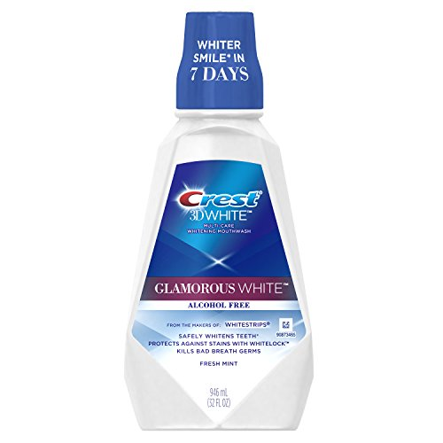 Crest 3D White Luxe Glamorous White Multi-Care Whitening Fresh Mint Flavor Mouthwash, 32 Fluid Ounce (Pack of 3) (packaging may (Whitening Rinse)