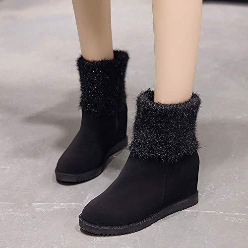 Dimensione Dimensione Dimensione UK Aumento Platform Ladies Heel in Colore black Flock Flock Flock Flock Heels Piattaforma 4 Boots ZHRUI Soft Wedge Alti Nero Stivali 5 wnxqZTE7F