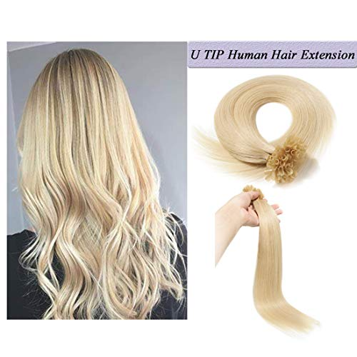 U Tip Human Hair Extensions Pre Bonded Nail Tipped Real Human Hair Piece Italian Keratin U Tip Fusion Extensions Silky Straight 100 Strands 18