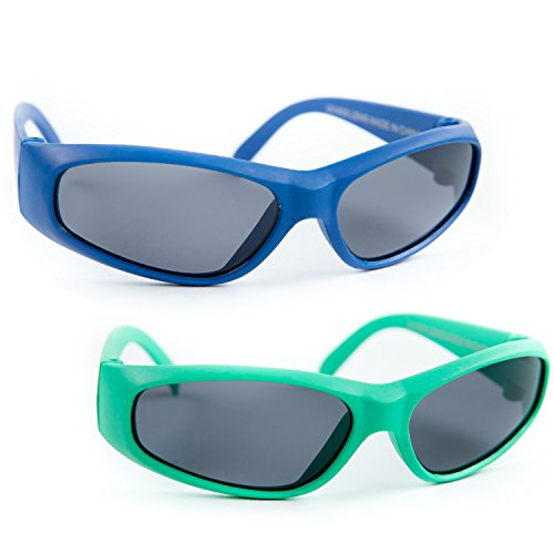 2 Pack Infant Size Baby Sunglasses with PC Impact Resistance lenses UV 100% Protection Lead Free Ruber Bendable Flexible Frames (New Born to 12 Month) (FDA Approved) (Blue - Fda Sunglasses