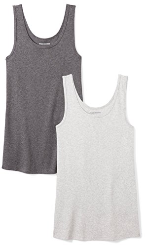 Amazon Essentials Women's 2-Pack Slim-Fit Tank, Light Grey Heather/Charcoal Heather, X-Large ()