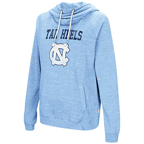 Colosseum NCAA Women's-I'll Go with You-Cowl Neck Hoody Sweatshirt-Team Color and Distressed Vintage Logo-North Carolina Tar Heels-Carolina Blue-Small (North Carolina Tar Heels String)