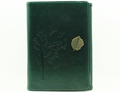 Valery Classic Leather Notebook Retro Vintage Diary & Journal Small Size for Men/women Daily Use Gift -Blank & Lined Refillable Loose Leaf Pages- Tree Leaf Design-brown (Green)