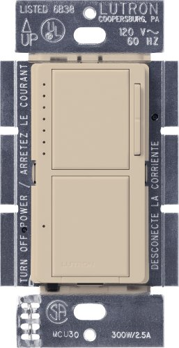 (Lutron MA-L3S25-TP Maestro 300-Watt Single-Pole Digital Dimmer and 2.5 Amp On/Off Switch, Taupe)