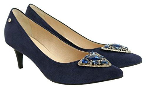 BOSCCOLO 4728 High Heels, Talons aiguilles, Leather, Leder, Cuir Veritable Navy Blue