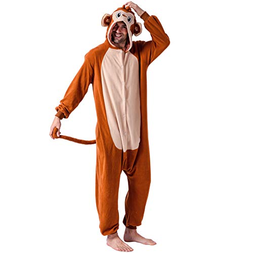 Monkey Costume Women (Spooktacular Creations Unisex Adult Pajama Plush Onesie One Piece Monkey Animal Costume (Large))