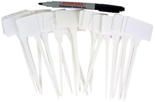 Bosmere Garden Helpers H168 5-1/2-Inch Plastic T-Plant Labels and Plant Marker Pen, 48-Pack, White by Bosmere