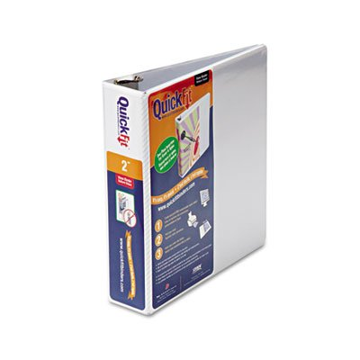 Quick Fit D-Ring View Binder, 2'' Capacity, White, Sold as 1 Each 2' Capacity White