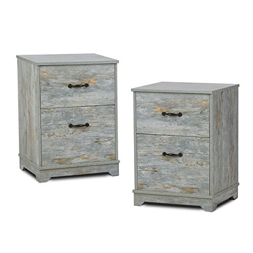 2 Drawer Wood Nightstand with Antique Metal Handle in OAK End Table by DEVAISE (Blue Oak-2 drawer(Set of 2)) by DEVAISE