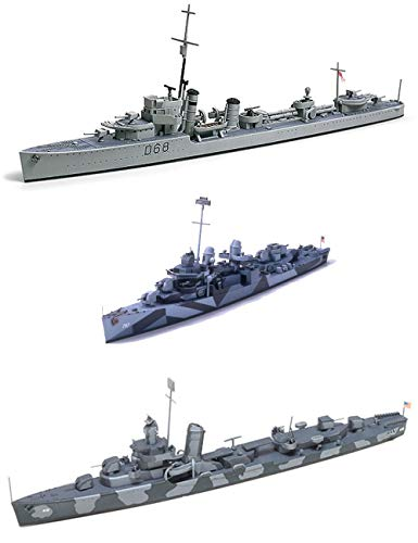 3 Tamiya Ship Models - US Navy Destroyers - USN DD445 Fletcher, DD-797 Cushing and DD412 Hammann (Japan Import)